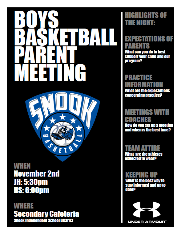 BOYS BASKETBALL PARENT MEETING 11/2 JH @ 5:30PM & HS@ 6:00PM