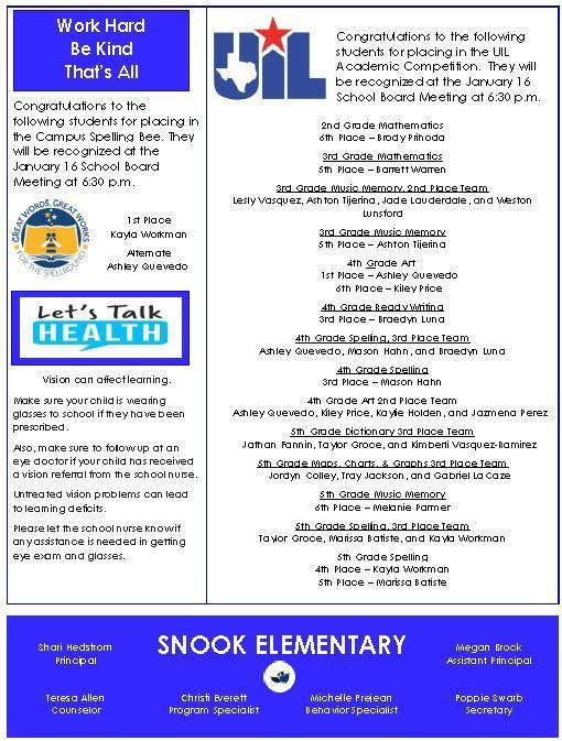 Snook Elementary ~ January Bluejay News