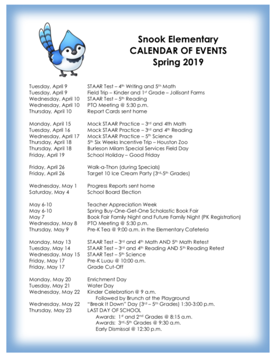 Snook Elementary - Spring Calendar of Events