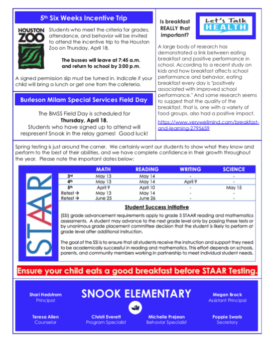 Snook Elementary - April Bluejay News