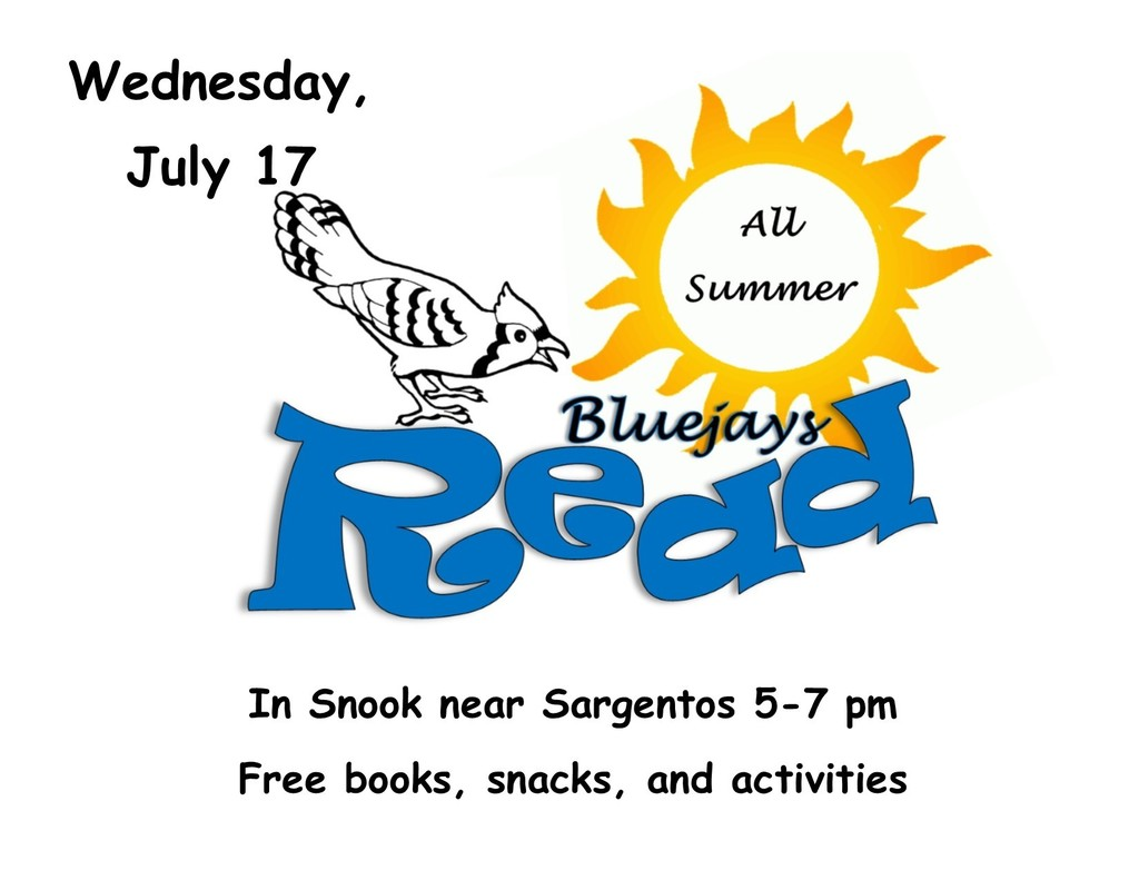 Bluejays Read in Snook, Wednesday, July 17, from 5-7 pm.