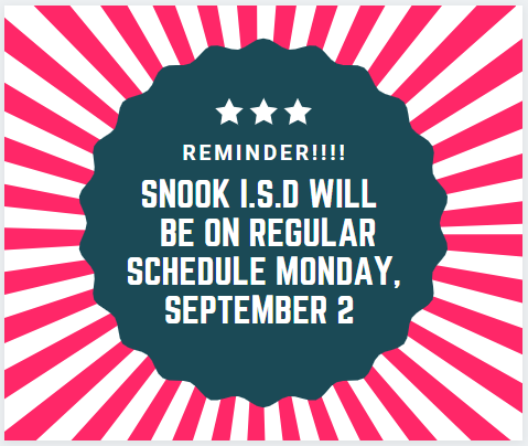 Regular schedule Monday September 2