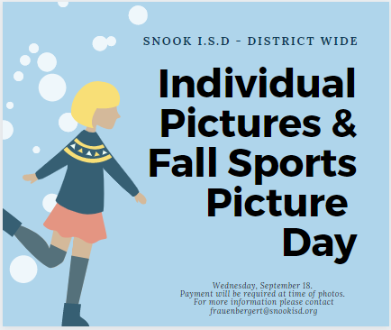 Individual Pictures & Fall Sports Picture day September 18th