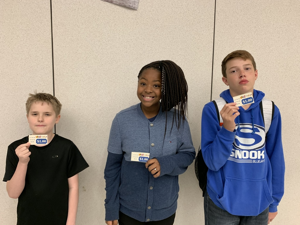 Congratulations to this weeks GOOD CHOICES winners for Snook Secondary. Students are nominated by staff members and then entered into a weekly drawing for a $1 to the cafeteria snack bar. 1