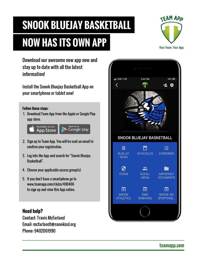 Snook Bluejays Basketball app information page.