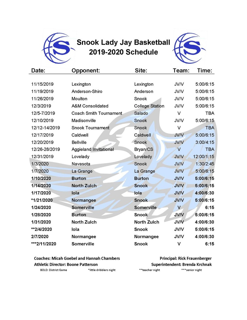 19-20 Lady Jay basketball schedule
