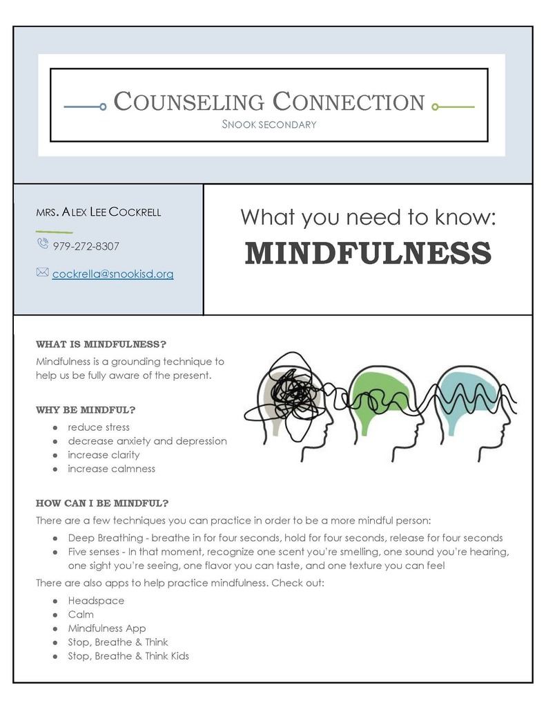 The counselors have teamed up and each six weeks there will be a Counselor Connection newsletter that will be made available around the time report cards come out. This six weeks the theme is mindfulness. Mindfulness is a grounding practice to help us be fully aware of the present. Practicing mindfulness helps slow racing minds and develop self-awareness in order to regulate emotions. Look for more information and some helpful tips in the Counselor Connection newsletter that is attached. Be sure to also check Snook social media pages and the counselor websites each week for the newsletter as well as resources that follow the theme of the previous newsletter.