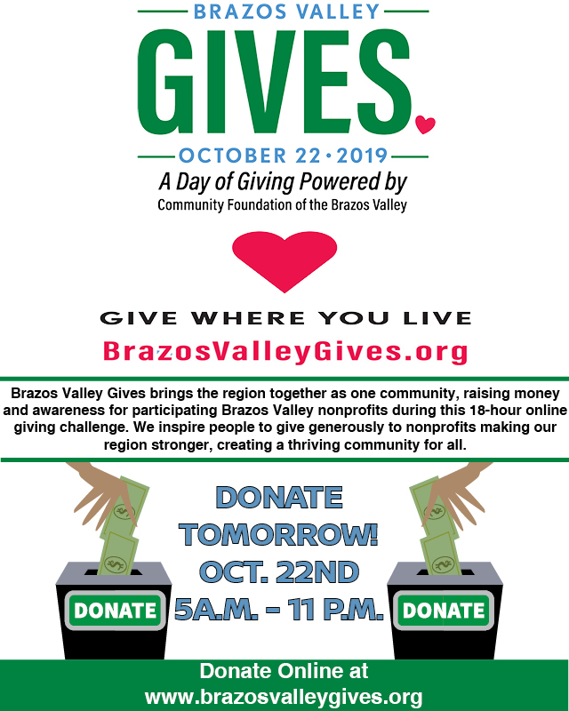 Annette Kirk 2:21 PM (3 minutes ago) to me  Check out our progress!!   https://www.brazosvalleygives.org/bluejaysread   We've raised over $1000! Giving ends at 11:00 pm Oct 22, so there's still time to give!!