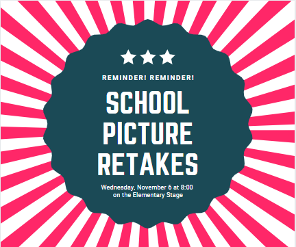 Reminder- Wednesday, November 6 at 8:00 am in the Elementary Cafeteria Retakes will be for any student that was absent on the original date or new enrollees to Snook ISD. Please Contact Teri Frauenberger for more information at frauenbergert@snookisd.or