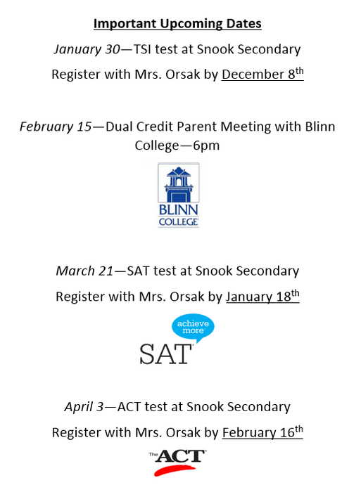 Important dates for Snook High