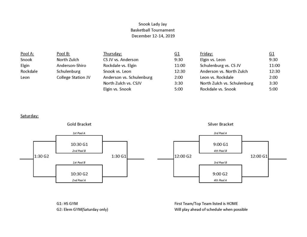 Schedule for the Snook Lady Jay basketball tournament this weekend, December 12-14