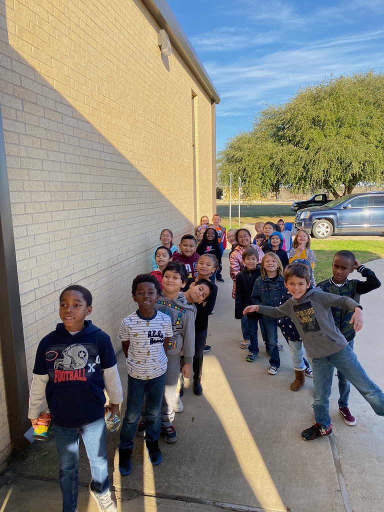 Giving with caring hearts! Elementary collected food and money for the Burleson County Food Bank.
