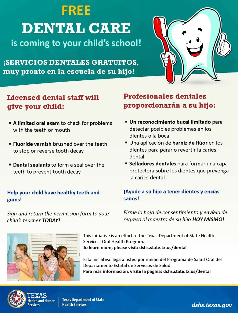 Dental screenings here at the school on February 18 & 19