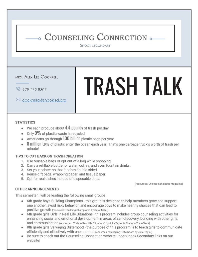 Counseling Connection Snook Secondary
