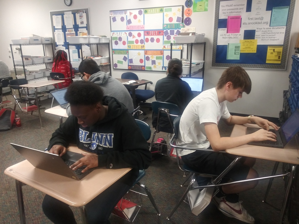 Bluejays in English 1 thinking critically and writing about what one thing/service they would make free and how it could impact the world.