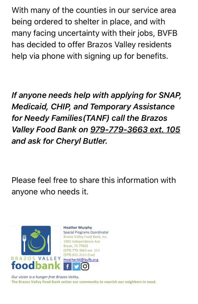 From the Brazos Valley Food Bank