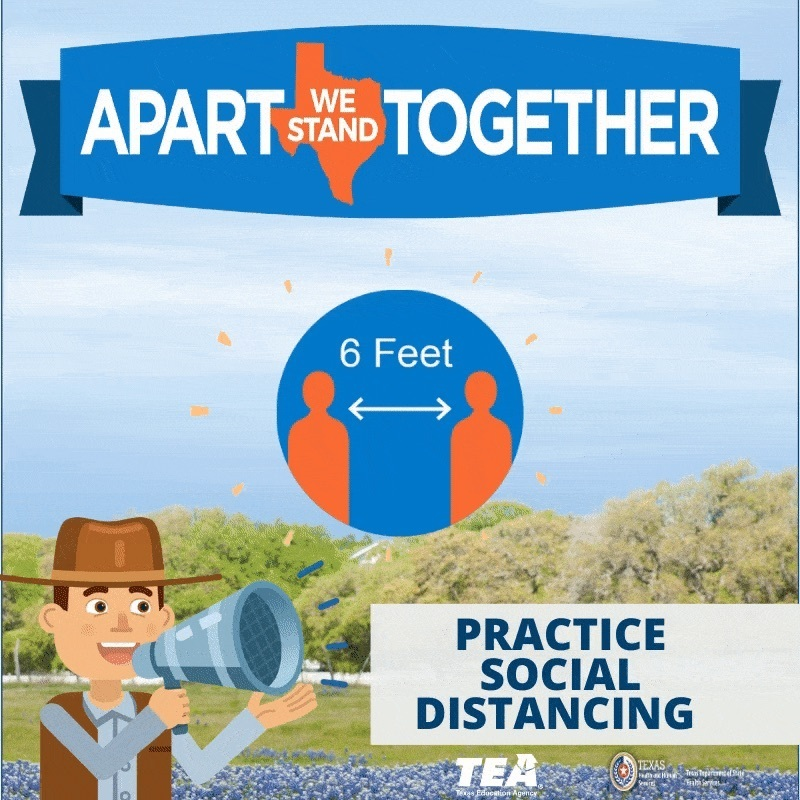 Practice Social Distancing  To avoid the spread of COVID-19 in our community, practice social distancing: •	Avoid going out in public  •	When in public, keep six feet of distance between you and others •	Follow guidance provided by local and state officials. Get more information at https://texas.gov/covid19 #covid19 #texasstrong #stayhome