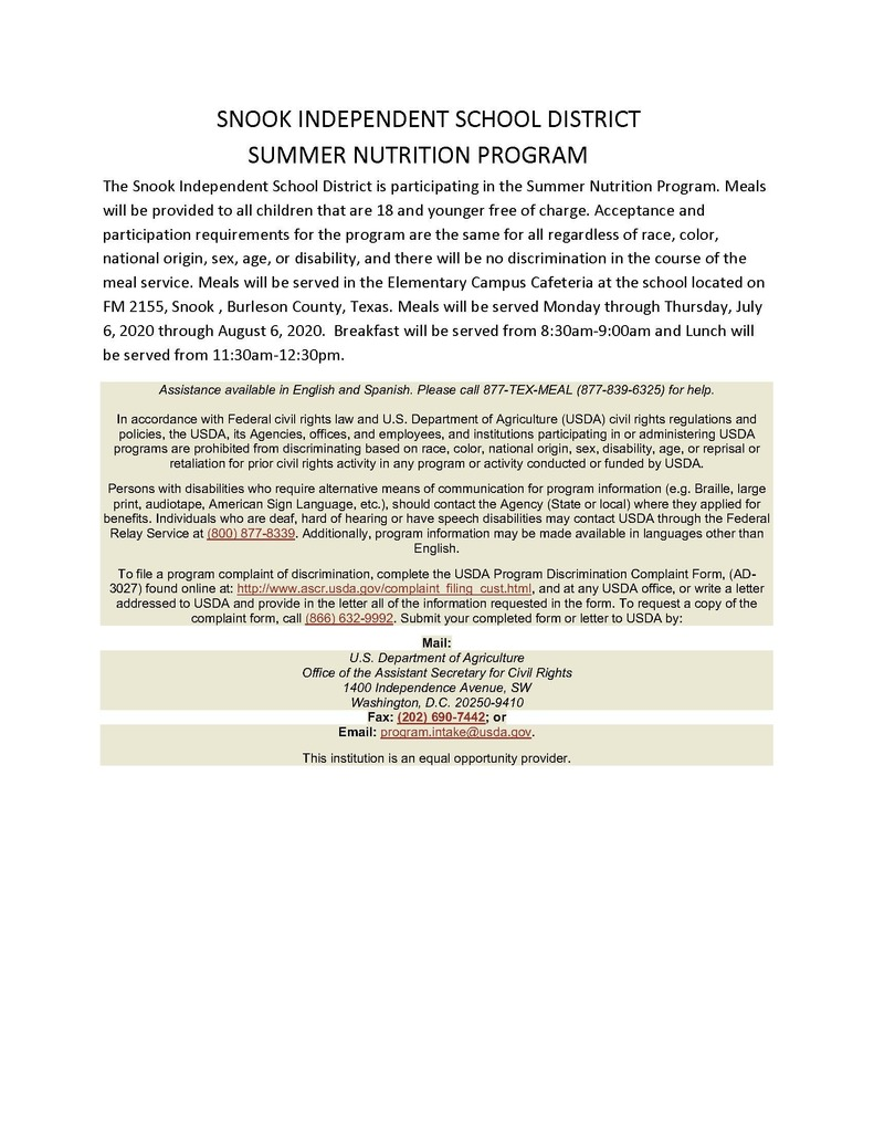SNOOK INDEPENDENT SCHOOL DISTRICT SUMMER NUTRITION PROGRAM