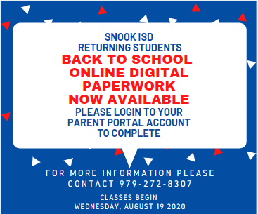 Snook ISD online registration is now LIVE!!!